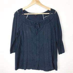 Deletta Anthropologie Navy shirt small